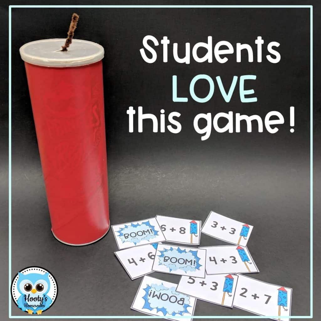 fact fluency game cards and container