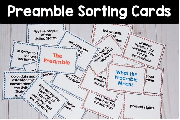 teaching the constitution with preamble sorting cards