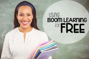 teacher smiling because she can use boom cards for free