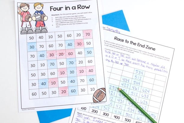student version of no prep rounding activities included in free rounding bundle