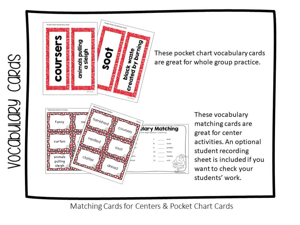 vocabulary matching cards for A Visit from St. Nicholas