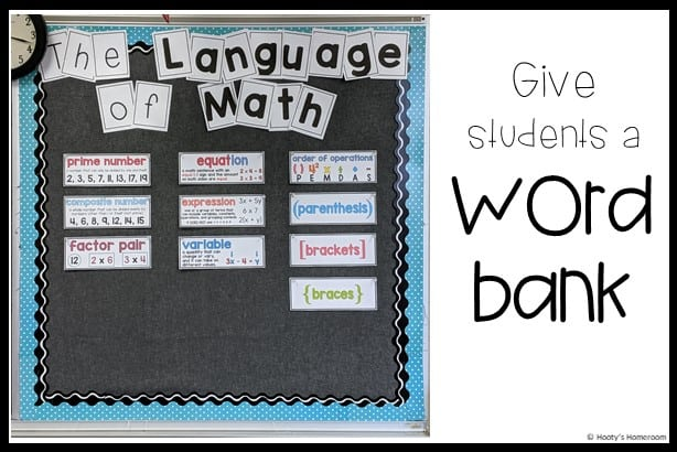math vocabulary word wall bulletin board