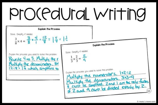student examples of procedural  writing prompts used in math