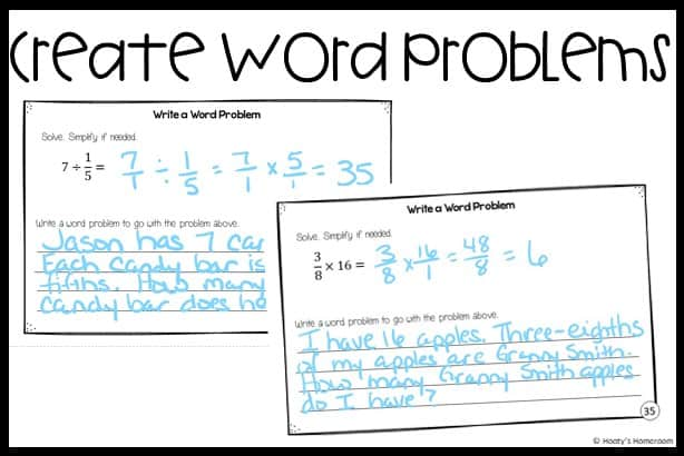 writing samples of student created word problems