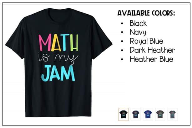 """Math is My Jam"" math shirt from Amazon."