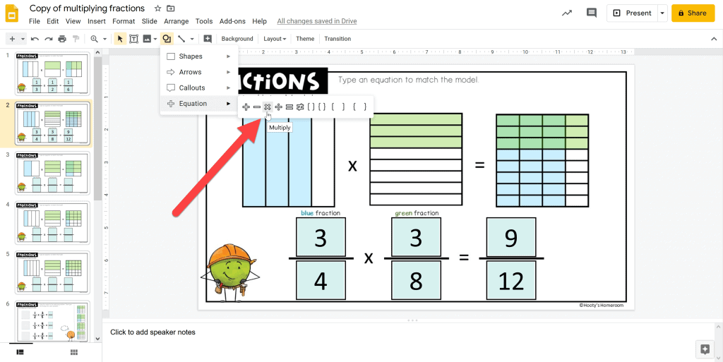 how to mark answers wrong using the shapes tool in google slides