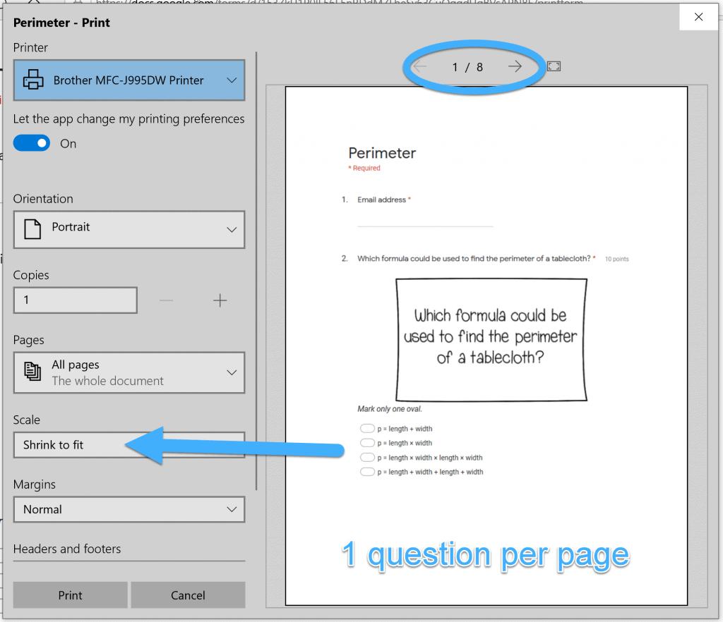 print dialog box when printing Google Forms using Microsoft Edge
