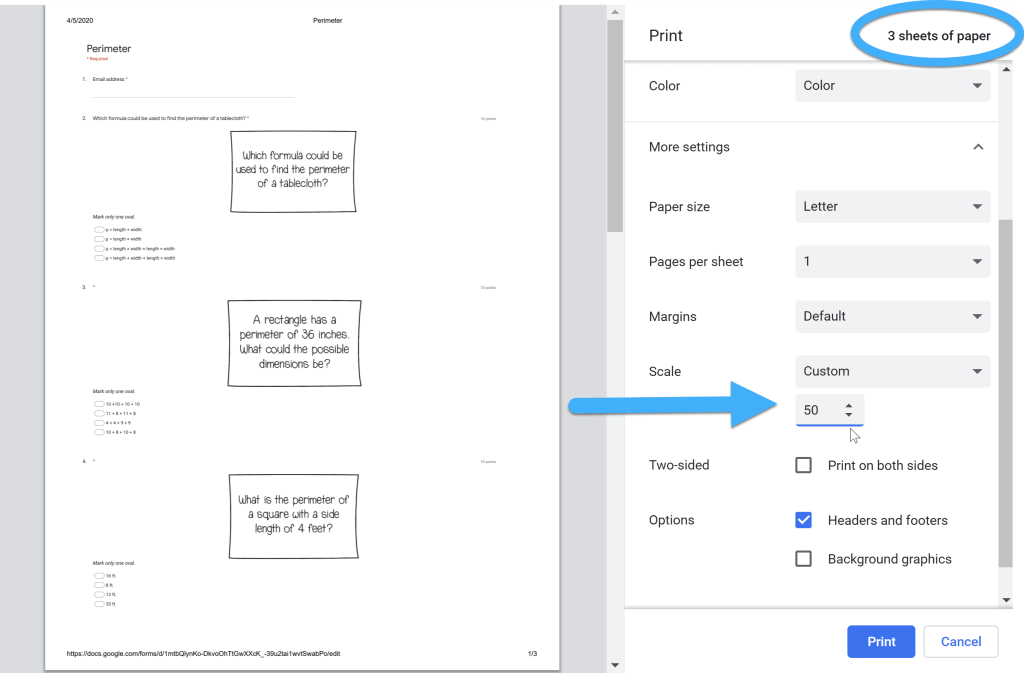 print dialog box when printing Google Forms using Chrome