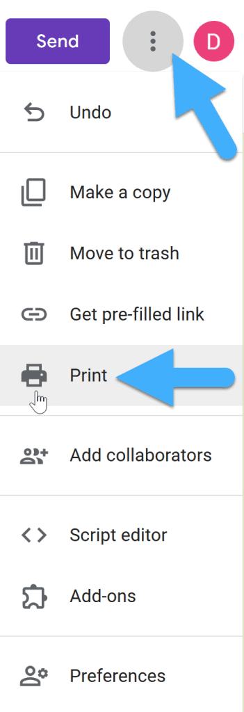 visual instructions for printing google forms