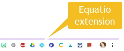 location of equatio chrome extension shown in browser