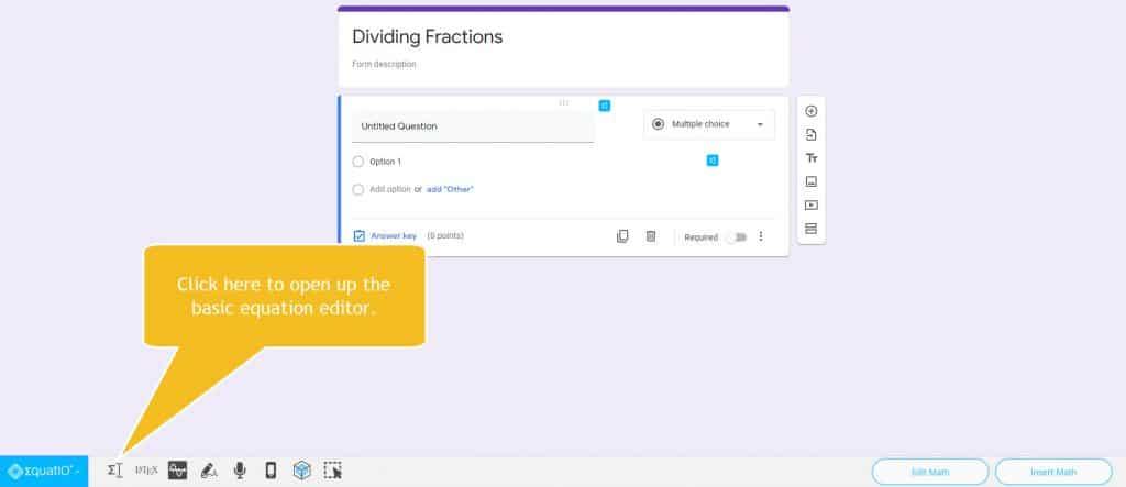 where to click to open equatio equation editor