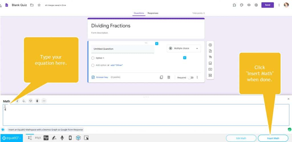 typing and inserting properly formatted fraction into a google forms assignment using chrome extension for math teachers