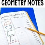 easy interactive notes for math journals using a quadrilateral classification chart
