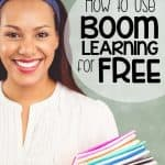 teacher smiling because she uses boom learning for free