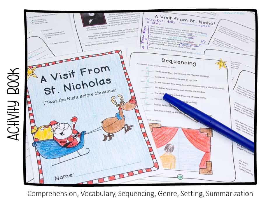 teaching reading with Christmas favorites - A Visit from St. Nicholas comprehension activity book