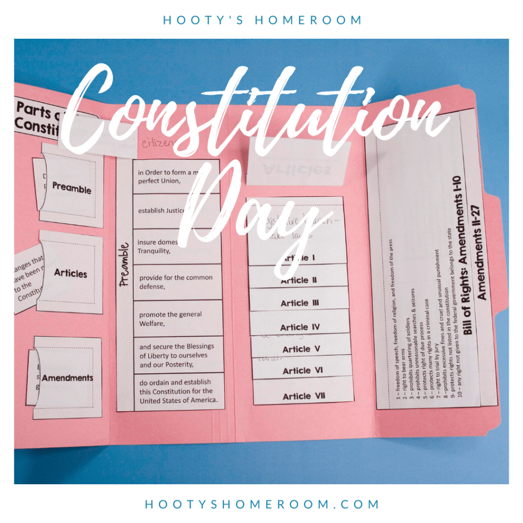 Constitution lapbook with preamble, articles, and amendments