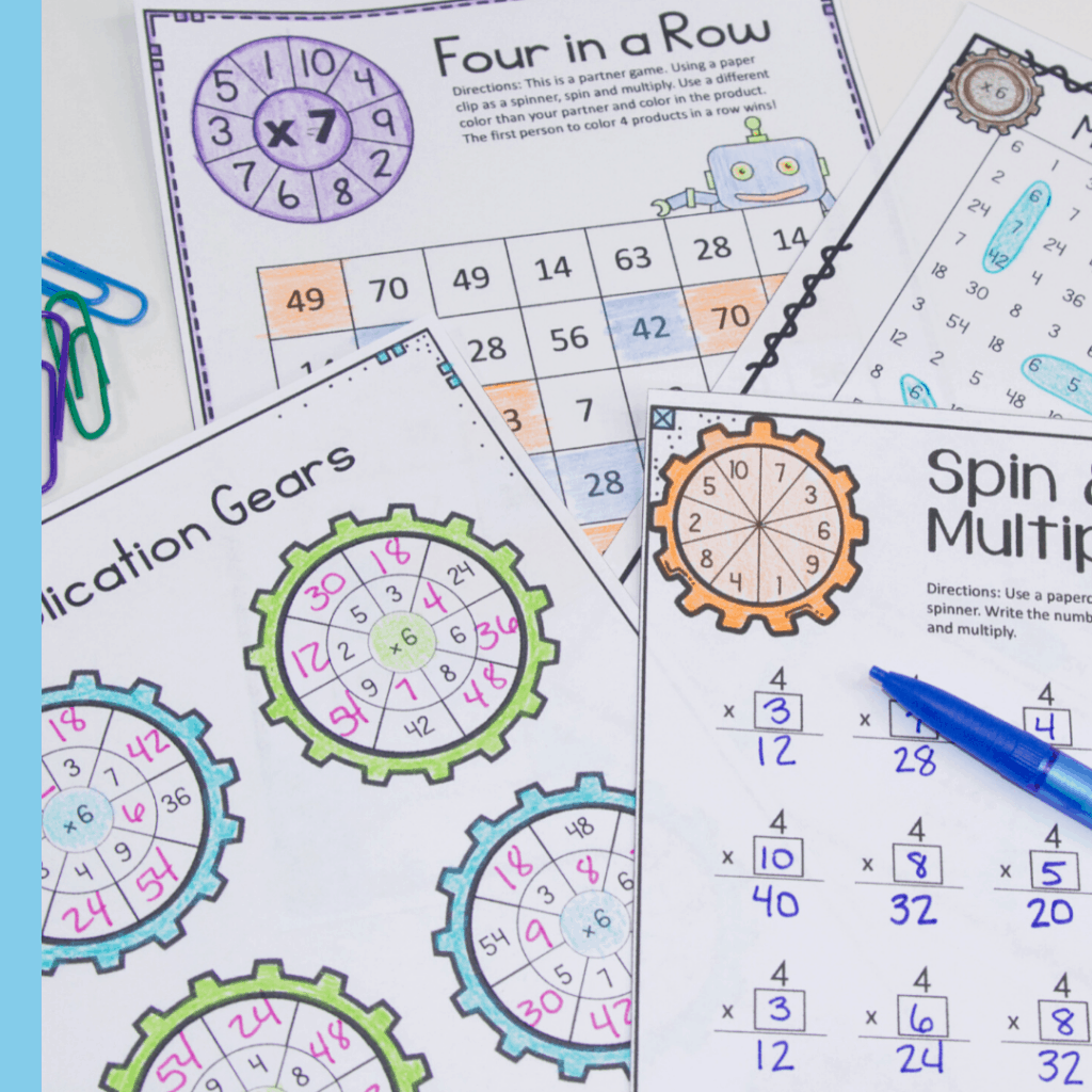 no prep multiplication worksheets and activities for 3rd graders