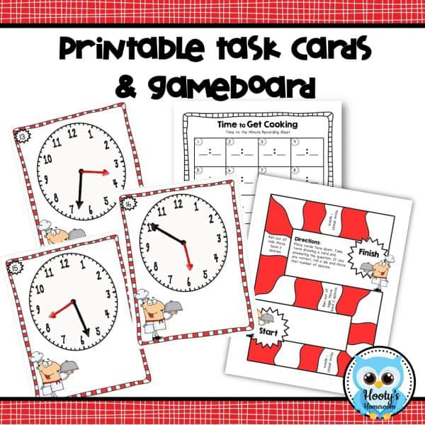 telling time to the minute task cards, game board, and student recording sheet