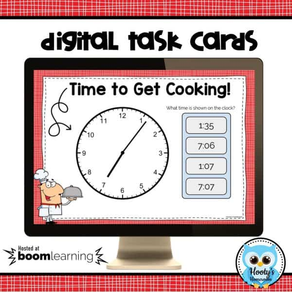 telling time to the minute digital task cards