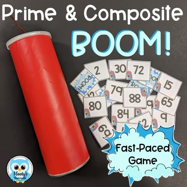 prime and composite numbers game cards and decorative storage can