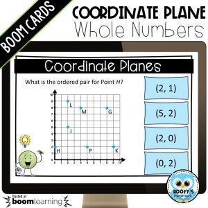 coordinate plane digital task card shown on computer