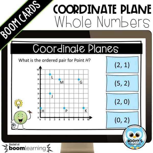 coordinate plane digital task card shown on computer