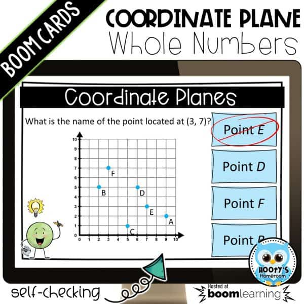 coordinate plane digital task card shown with immediate feedback to incorrect answer