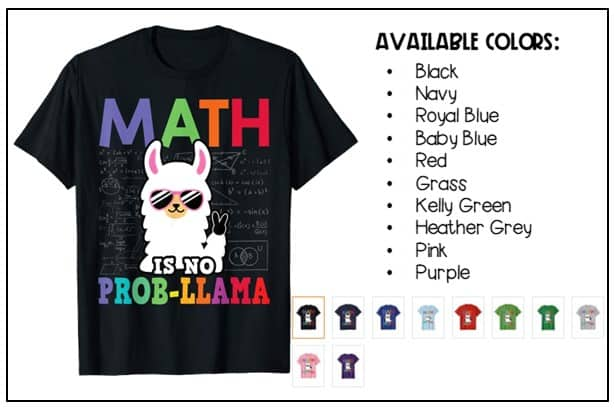 """Math is No Prob-llama"" math shirt"