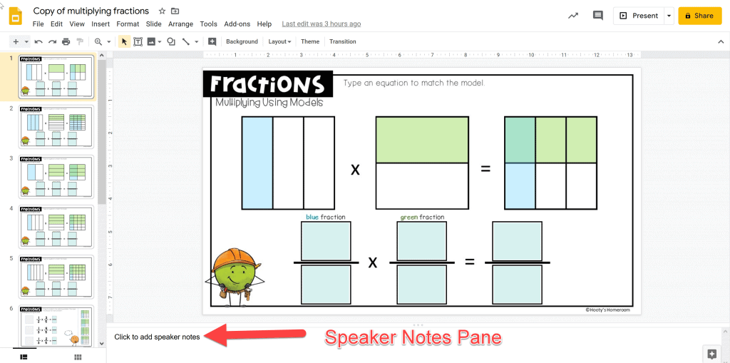 using the speaker notes pane to add teacher comments to student work