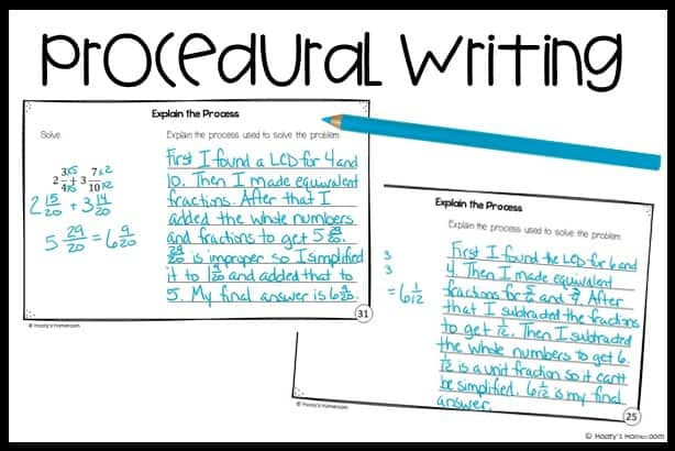 student writing samples showing examples of procedural writing prompts