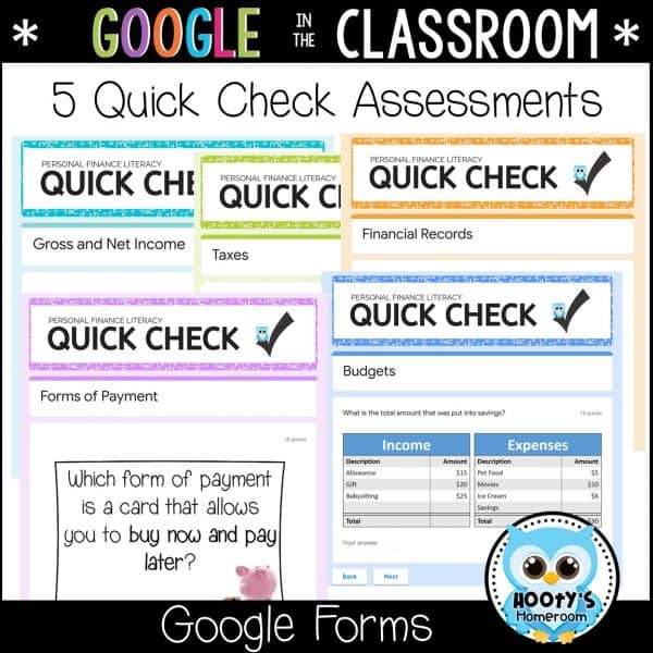 5 quick check assessments using google forms