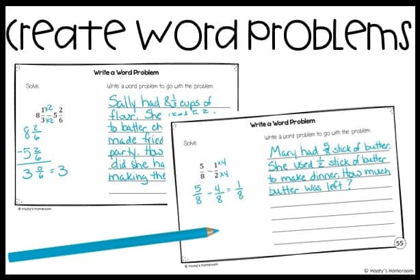 create a word problem student writing sample