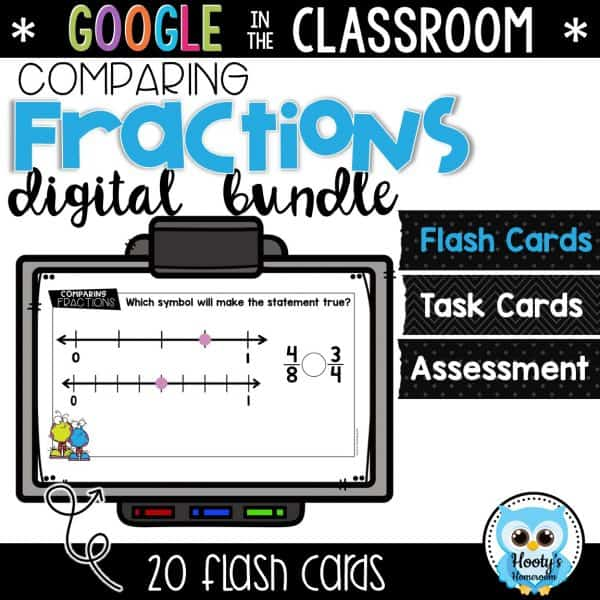 comparing fractions digital flash cards in google slides