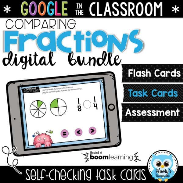 comparing fractions digital task cards hosted at Boom Learning