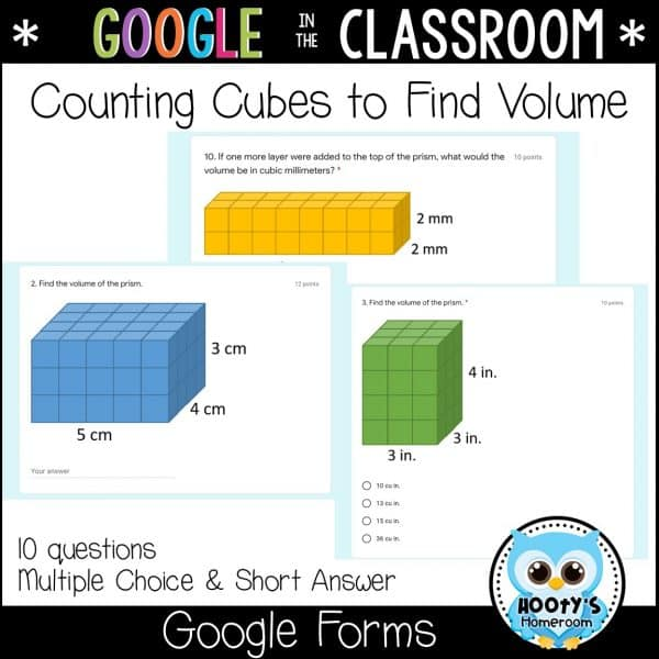 sample questions counting cubes to find volume