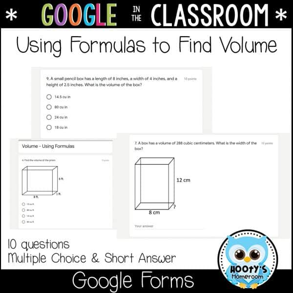 sample questions for using formulas to find volume