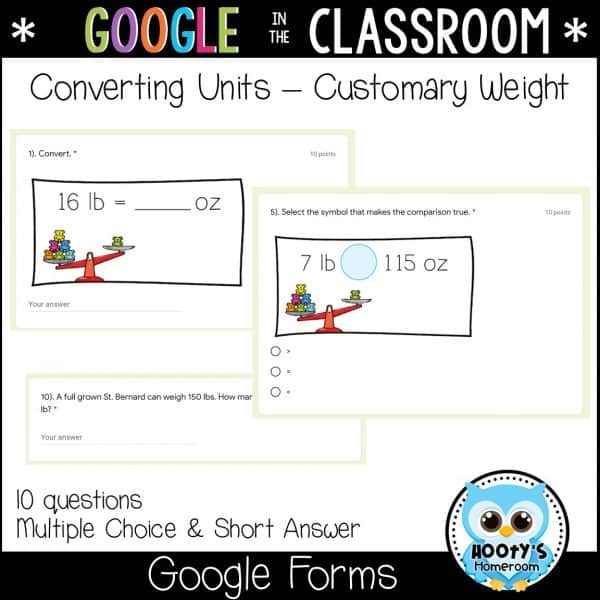 google forms customary weight sample questions