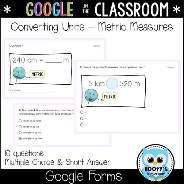 google forms metric units sample questions