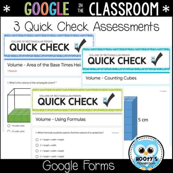 3 assessments included in google forms