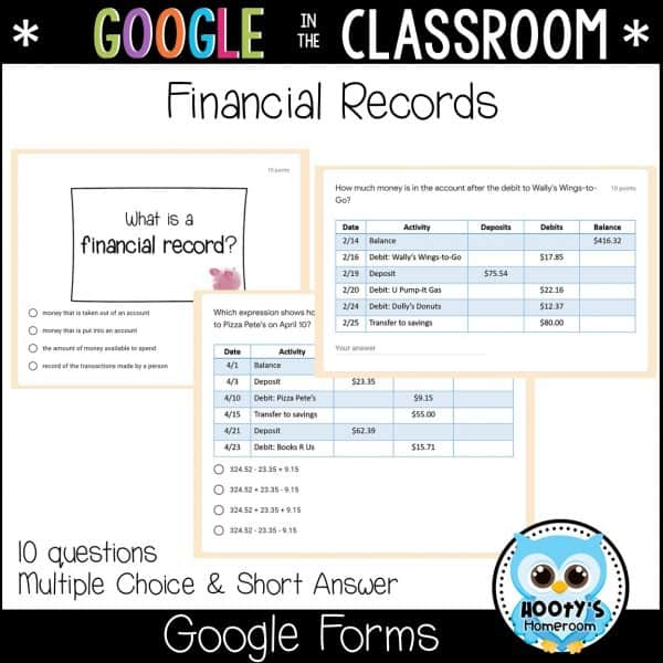 sample financial records assessment questions