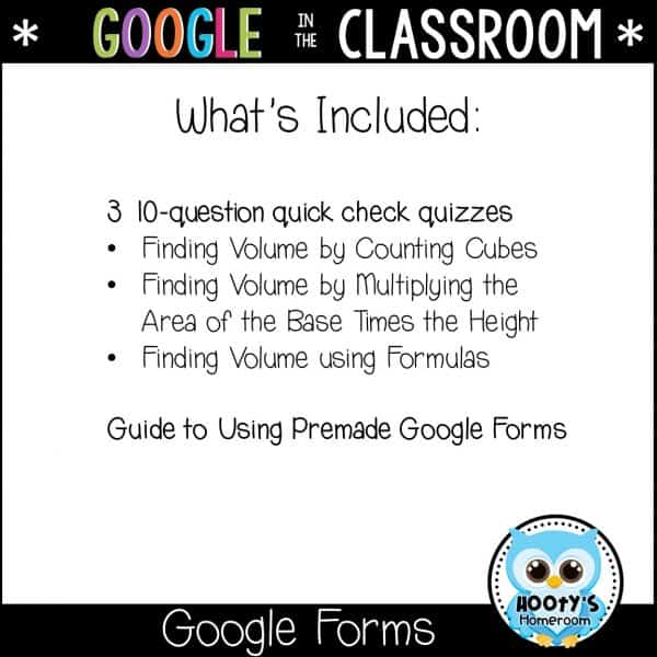 items included in this google forms resource