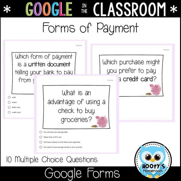 forms of payment sample questions