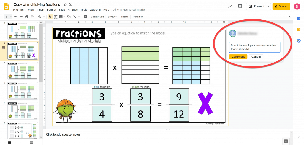 sample teacher comment pasted from google keep to the comment pane in google slides