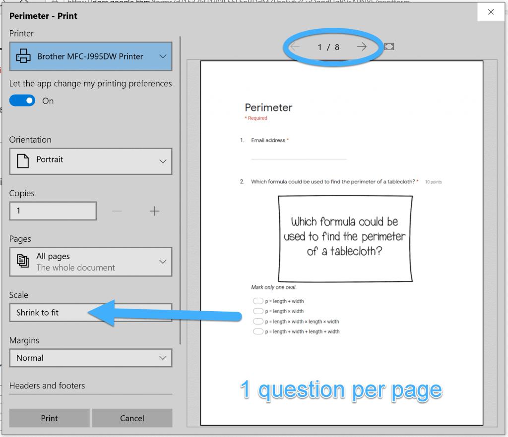 print dialog box when printing Google Forms using Microsoft Edge