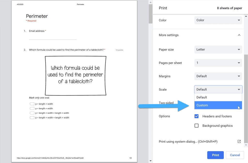 Chrome print dialog box