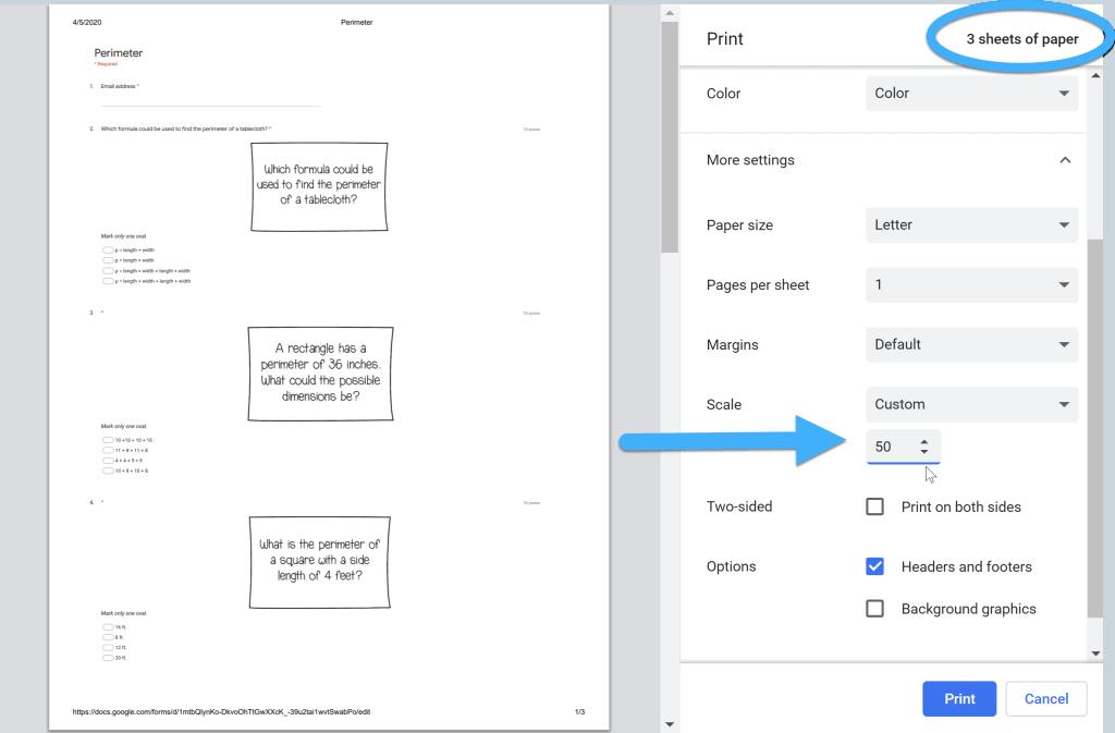 print dialog box when printing Google Forms using Chrome