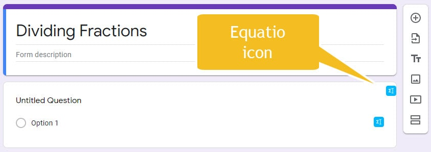 equatio icon shown in google forms