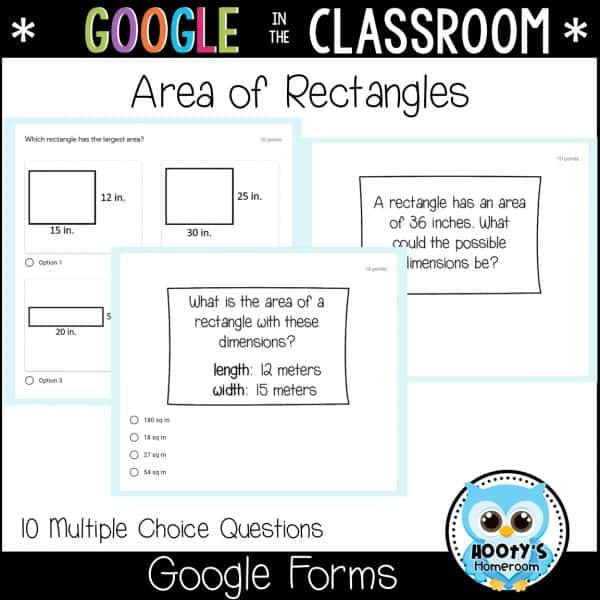 sample quick check area of rectangles questions