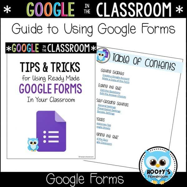 cover and table of contents of guide to using google forms