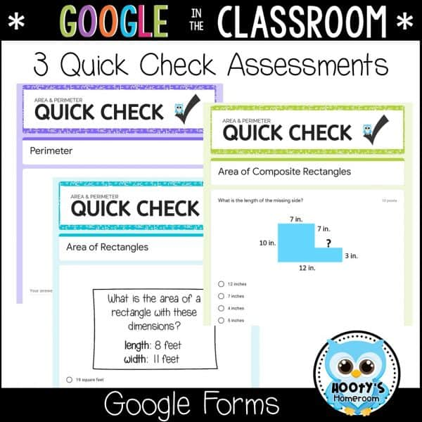 3 quick check assessments using google forms
